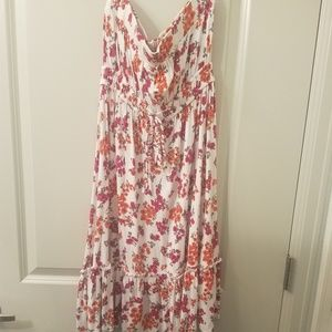 Floral knee length tube top dress